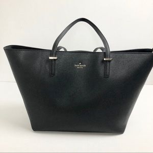 Kate Spade Large Black Leather Zip Top Tote